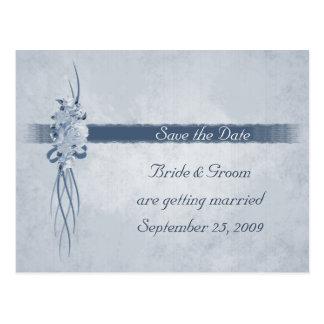 Pastel Blue Rose Bouquet - Save the Date Postcard