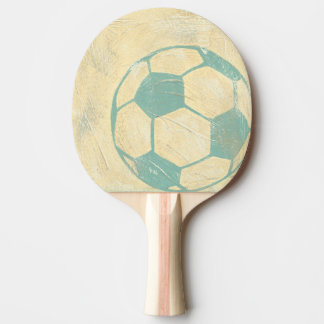 Pastel Blue Soccer Ball by Chariklia Zarris Ping Pong Paddle