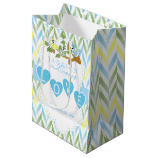 Pastel Blue Squirrel Design - Baby Boy Shower Medium Gift Bag