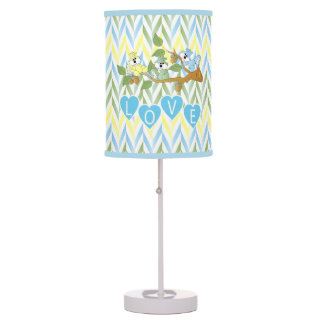 Pastel Blue Squirrel Nursery Theme Design Table Lamp