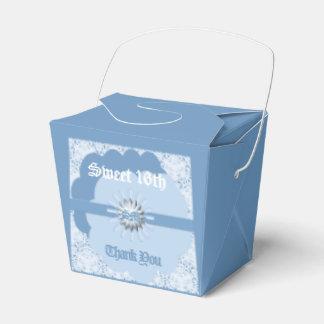 Pastel Blue Sweet 16th Favor Take Out Box Bl