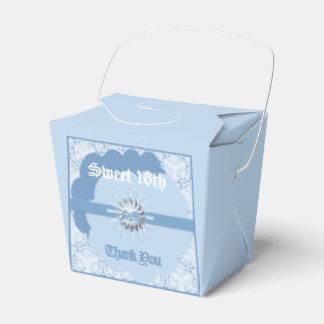 Pastel Blue Sweet 16th Favor Take Out Box Light Bl