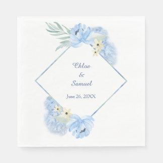 Pastel Blue Watercolor Floral Frame Wedding Paper Napkin