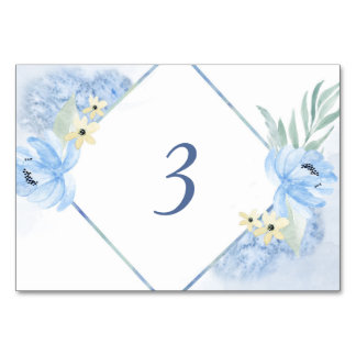 Pastel Blue Watercolor Floral Frame Wedding Table Card
