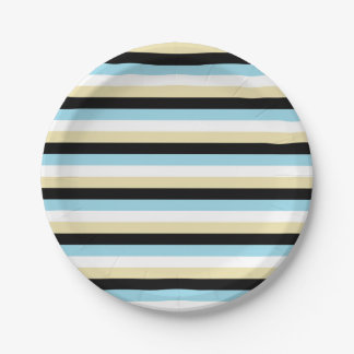 Pastel Blue, White, Beige and Black Stripes Paper Plate