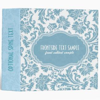 Pastel-Blue & White Floral Damasks Vinyl Binders