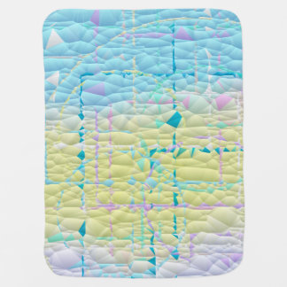Pastel Blue Yellow and White Abstract Quilted Baby Blanket