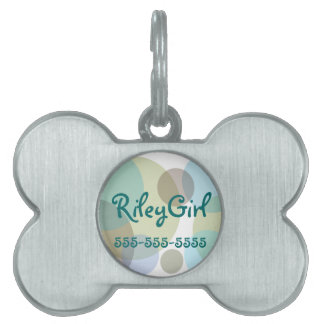 Pastel Blues Polka Dots Pet Name Tag