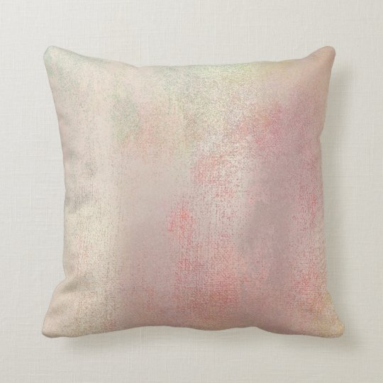 Pastel Blush Gold Mint Pink Rose Painting Pastel Throw Pillow