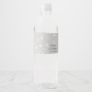 Pastel Blush Pink & Light Grey Wedding Water Bottle Label