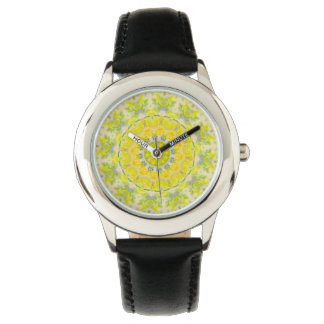 PASTEL BOHEMIAN KALEIDOSCOPIC GEOMETRIC MANDALA WRIST WATCH