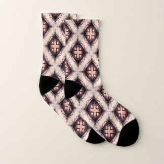 Pastel Brown Abstract Pattern Socks
