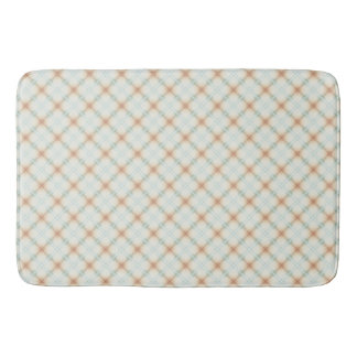 Pastel Brown And Blue Retro Pattern Bath Mat