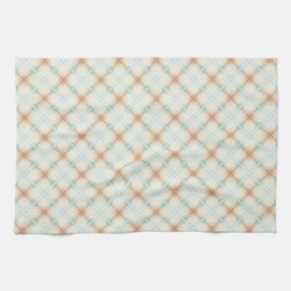 Pastel Brown And Blue Retro Pattern Kitchen Towel