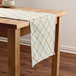 Pastel Brown And Blue Retro Pattern Short Table Runner
