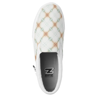 Pastel Brown And Blue Retro Pattern Slip-On Sneakers