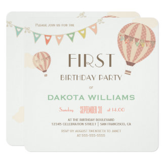 Pastel Bunting & Hot Air Balloons   First Birthday Card