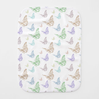 Pastel Butterflies Baby Burp Cloth