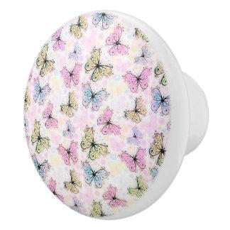 pastel butterflies ceramic knob
