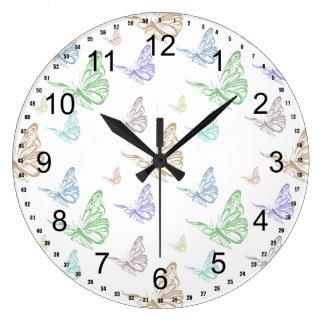 Pastel Butterflies Large Clock