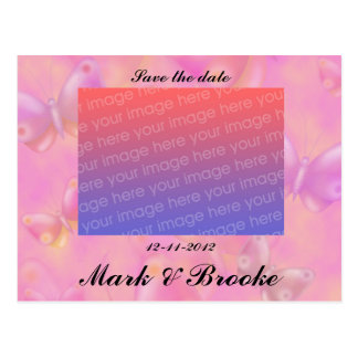 Pastel Butterflies Save the date wedding Postcards