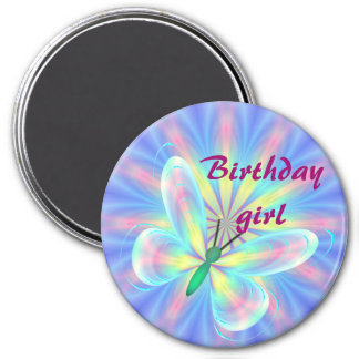 Pastel butterfly 3 inch round magnet