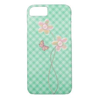 pastel butterfly and flower on checkered green iPhone 8/7 case