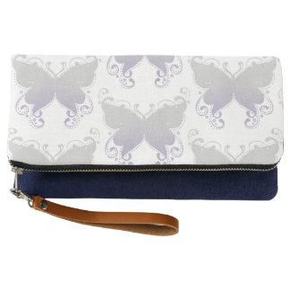 Pastel Butterfly Lavender & Gray Clutch