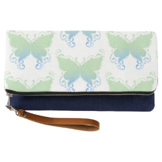 Pastel Butterfly Lime & Teal Clutch