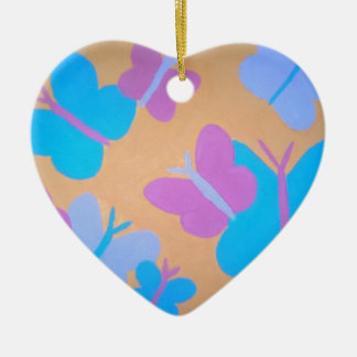 Pastel Butterfly Pattern Ceramic Ornament