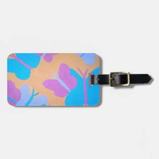 Pastel Butterfly Pattern Luggage Tag