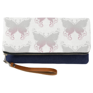 Pastel Butterfly Pink & Gray Clutch