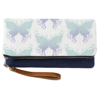 Pastel Butterfly Teal & Lavender Clutch