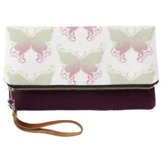 Pastel Butterfly Yellow & Pink Clutch