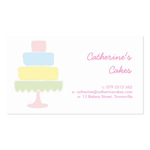 Pastel Cake Bakery Business Card Template