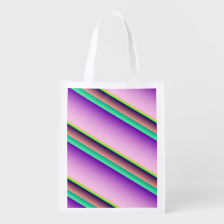 Pastel Candy Stripes Reusable Grocery Bags