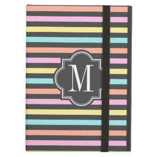 Pastel Candy Stripes with Charcoal Monogram Cover For iPad Air