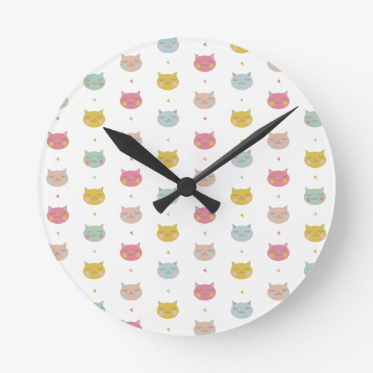 Pastel Cats Wall Clock
