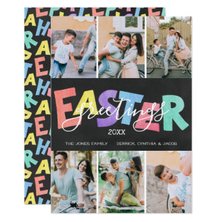 Pastel Chalk Family Easter Greeting | Six Photos Card