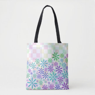 Pastel Checker Flowers Tote Bag