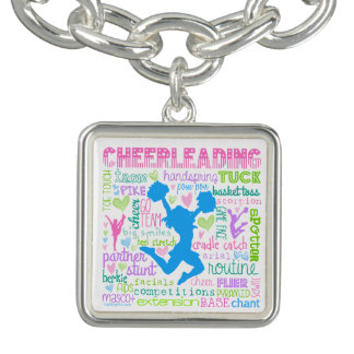 Pastel Cheerleading Words Typography Charm Bracelet