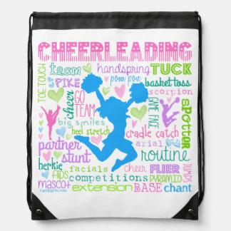 Pastel Cheerleading Words Typography Drawstring Bag