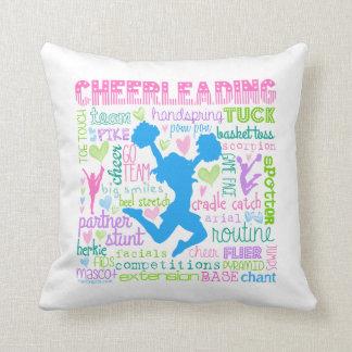 Pastel Cheerleading Words Typography Throw Pillow