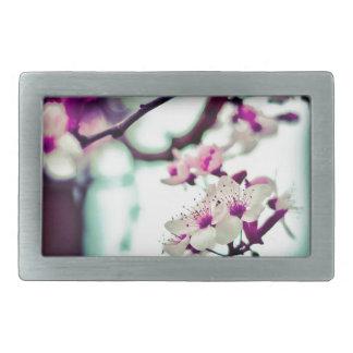 Pastel cherry blossom photo belt buckle