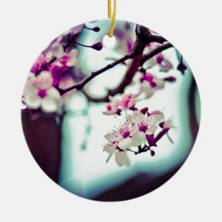 Pastel cherry blossom photo ceramic ornament