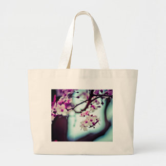 Pastel cherry blossom photo large tote bag