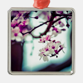 Pastel cherry blossom photo metal ornament