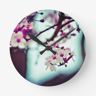 Pastel cherry blossom photo round clock