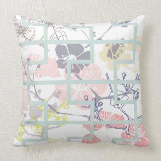 Pastel cherry blossom throw pillow