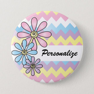 Pastel Chevron Floral | DIY Name 3 Inch Round Button